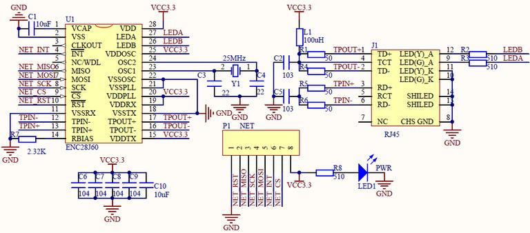 ENC28J60 Ethernet module for STM32 development board - good